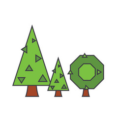 fir tree line icon concept fir tree flat vector image