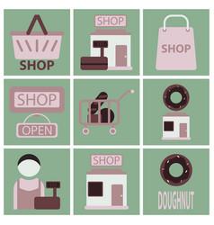 flat icons set shop vector image