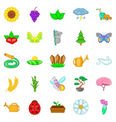 flowering icons set cartoon style vector image
