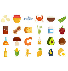 Food allergy icons set flat style vector