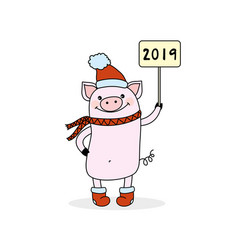 Funny and cute pig in red hat and scarf holdin vector