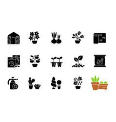 gardening store categories black glyph icons set vector image