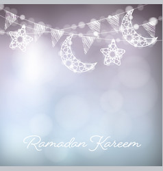 Garlands with decorative moons stars lights and vector