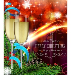 Glasses of champagne on Christmas background vector image