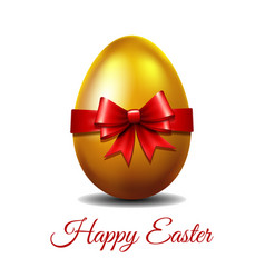 gold easter egg tied red ribbon vector image