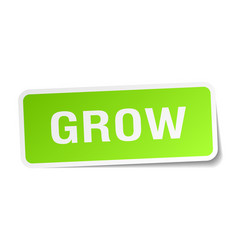 Grow square sticker on white vector