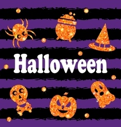 Halloween Party Banner with Shine Orange vector image