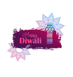 happy diwali background with hanging lamp vector image