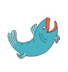 Happy fish jumping and smiling Cartoon character vector