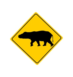 Hippo warning sign vector image