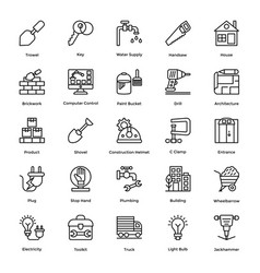 industrial and construction line icon set vector image