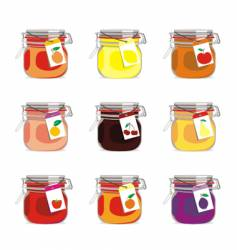 jam jars and fruits vector image