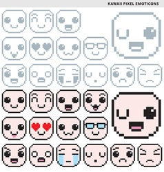 Kawaii Pixel Emoticons vector