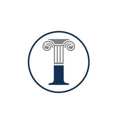 Letter i and law pillar logo design column logo vector