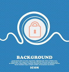 Lock sign icon Blue and white abstract background vector image