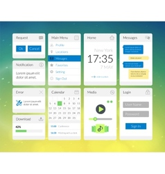Mobile flat interface elements with colorful vector