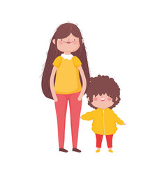 Mother and little son characters on white vector