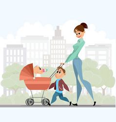 mother walking with children vector image