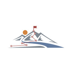 mountain climbing route to peak vector image