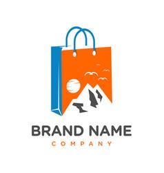 mountain equipment shopping logo design vector image