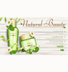 natural cosmetics bottles with chamomile flowers vector image