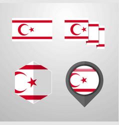 Northern cyprus flag design set vector