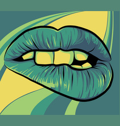 open mouth with lips biting womens mouth vector image