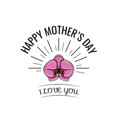 orchid mother s day card in format vector image