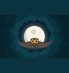 owl flies in the clouds under moon vector image