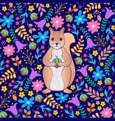 pattern with orange squirrel and flowers vector image