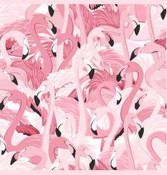 Pink flamingo birds flamboyance seamless pattern vector