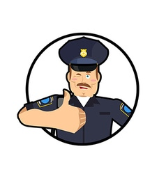 Police thumbs up Signs all right cheerful Kop vector