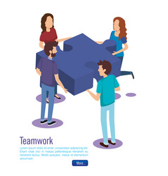 puzzle pieces with teamwork people isometric vector image