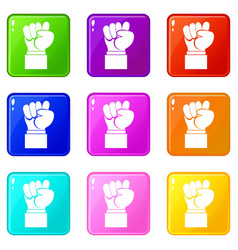 Raised up clenched male fist icons 9 set vector