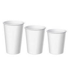 realistic white disposable small big and middle vector image
