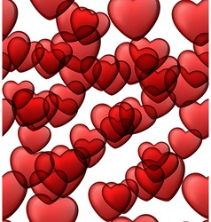 Red love seamless background of heart bubbles vector