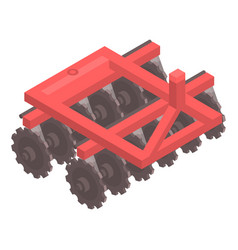 red tractor machinery icon isometric style vector image