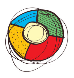 round element divided into four different color vector image