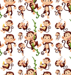 Seamless monkey in different actions vector image