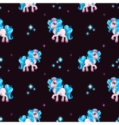 Seamless pattern with cute white cartoon horse vector