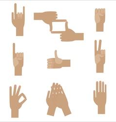 Set of nine popular human hand gestures vector