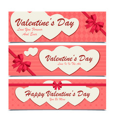 set of three banners with white hearts for vector image