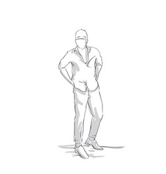 silhouette business man holding hands in pockets vector image