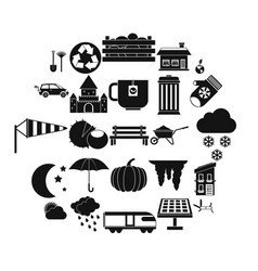 small house icons set simple style vector image