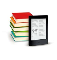 Stack books and e-book vector