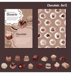 Template with different kinds of chocolate candies vector