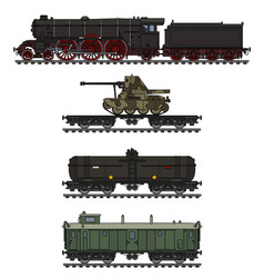 The vintage military steam train vector