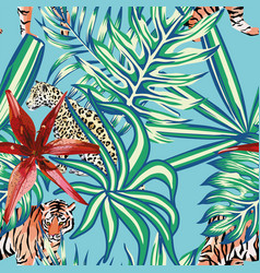 tiger leopard tropical leaves lily seamless vector image