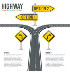 Timeline road infographics with signposts vector