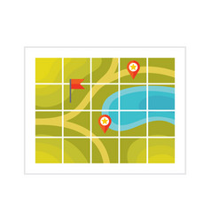 tourist map - flat style icon on white background vector image